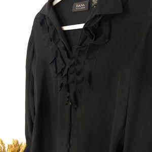 Dana Buchman -100% Silk Ruffle Detail Blouse - 6
